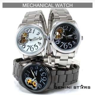 Goer Skeleton Auto Mechanical Men Brown Leather Watch