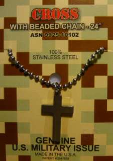 Military Issue Christian Cross Pendant Stainless Steel w Chain Made in