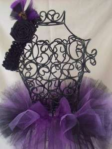 Newborn Infant Baby Black/Purple Tutu Feather headband