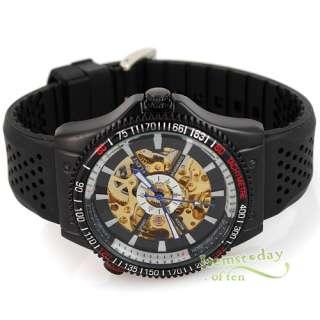 Army Military Black Auto Mechanical Mens Sport Watch Rare Golden