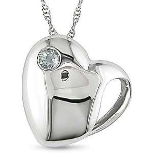 10k White Gold Blue Topaz Heart Necklace Jewelry