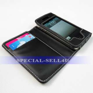 Wallet Slot Design Leather Flip Case Cover Pouch for iPhone 4 4S Black