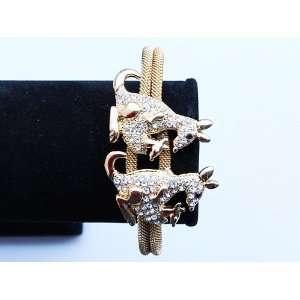 Gold Tone Metal Alloy Crystal Rhinestone Twin Kangaroo