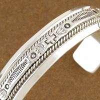 Navajo Sterling Silver High Shine Native Symbols Mens Womens Cuff