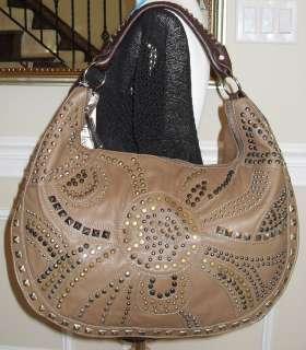 New Nicole Lee NADIA Large Studded Hobo Bag, Taupe