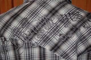 DKNY JEANS LONG SLEEVE BLACK GRAY WHITE COTTON WESTERN PLAID SHIRT