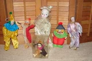Vintage Lot Of 6 Porcelain Head Clown Mime Dolls