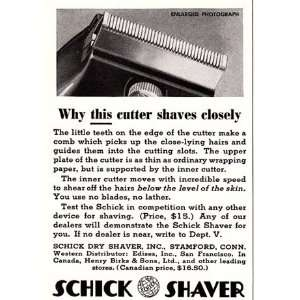 Ad 1937 Schick Shaver Why this cutter shaves closely Schick Books