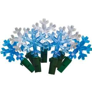 White LED Snowflake String Light, Green Wire, Plug in
