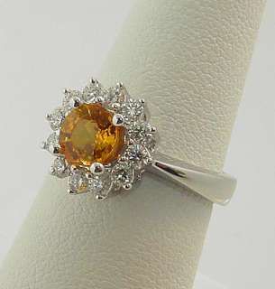 STUNNING ESTATE 18K YELLOW SAPPHIRE DIAMOND HALO RING