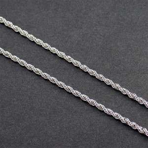 20 2.5mm WHITE GOLD EP ROPE NECKLACE CHAIN