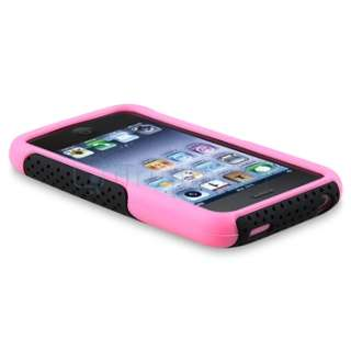Mesh Pink Rubber Silicone/Black Hard Case Cover For iPhone 3 3rd G 3GS
