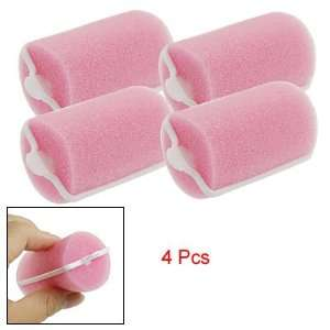 Rosallini Ladies Pink Sponge Hair Care Roller Curler Beauty Tool 4 Pcs