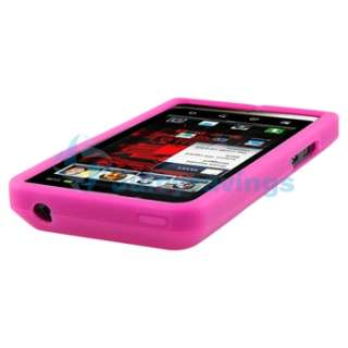 Pink Gel Soft Case+Privacy Film+Car Charger+USB For Motorola Droid