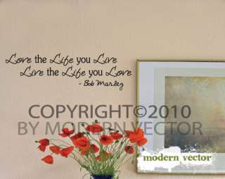 Bob Marley Vinyl Wall Quote Decal Lettering Love Life