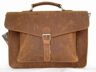 Genuine Cowhide Leather Briefcase Messenger Laptop Bag  B15