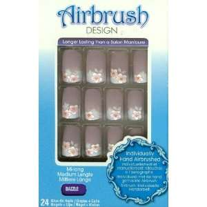 nails Airbrush glass design medium length nail kit Dazzle #BABN11