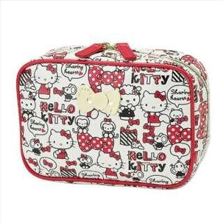Hello Kitty Cosmetic Bag Ribbon Sharing Hearts Sanrio Japan Exclusive