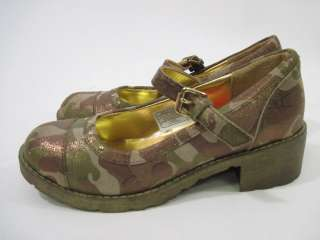 GUESS Girls Camouflage Stacked Shoes Heels Sz 2