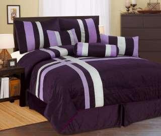Comforter Set Patchwork Modern Shams Decorative Pillows Black Purple