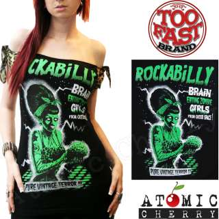 Too Fast Rockabilly Zombie Top T Shirt Pin Up Punk Horror Leopard