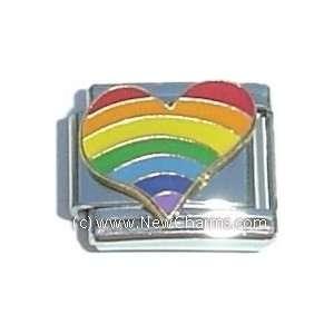 Rainbow Heart Italian Charm Bracelet Jewelry Link Jewelry