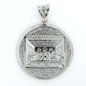 Mens Iced Out Hip Hop White Gold Plated Crystal Round Last Supper