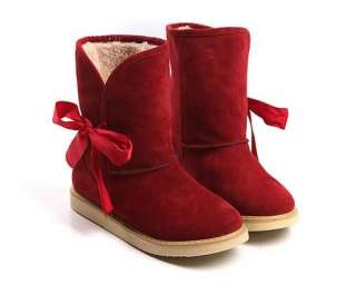 Flats Heels Boots Lace Winter Boots Bow Mid Calf Snow Boots
