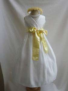 IVORY CANARY LIGHT YELLOW FLOWER GIRL PARTY DRESS 1 14