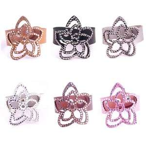 Fashion Artificial Leather Crystal Ladys Flower Shape Charm Bracelet