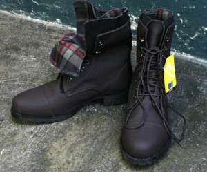 Mens Fashion Military Boots Shoes SS029 D Brown |
