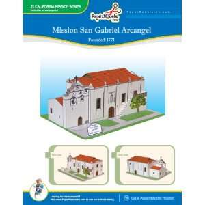 California Mission San Gabriel 10 x 13 Paper Model