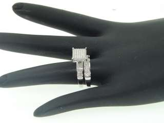 WHITE GOLD DIAMOND ENGAGEMENT RING WEDDING BAND TRIO SET CUBE