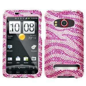 Bling Pink Zebra Diamante Protector Case for HTC EVO 4g Sprint Hard