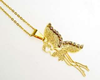 Gold 18k GF Chain & Charm Tinkerbell Fairy Swarovski Crystal Necklace