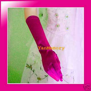 "15""Hot Pink Satin Evening Prom Party Gloves Fancy Dress"
