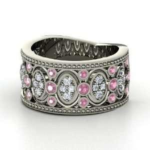 Renaissance Band, 14K White Gold Ring with Pink Tourmaline & Diamond