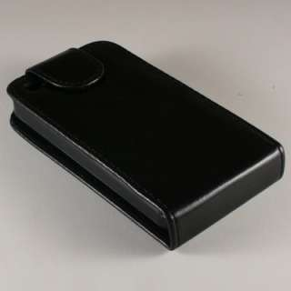 Flip Cover Leather Case for Apple iPhone 4 Black