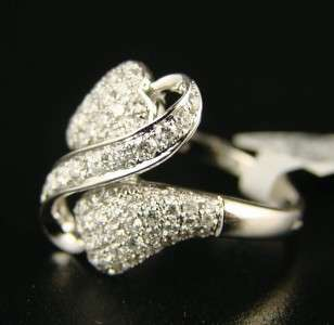 LADIES/WOMENS DESIGNER HEART DIAMOND RING 14k 1.05 C