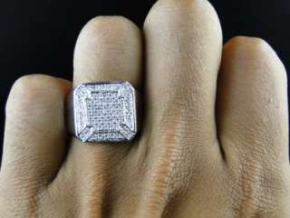 10K MENS WHITE GOLD PINKY WEDDING BAND GENUINE DIAMOND DESIGNER RING 1
