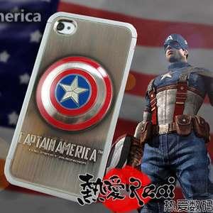 America Captain 86Hero Chrome Plating 3D Full Hard Case Cover iPhone 4