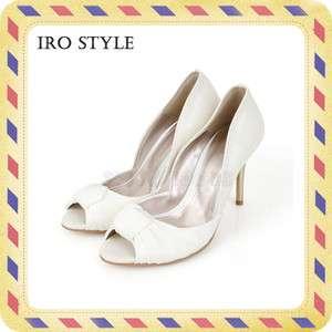 iro style] White Satin & Fake leather ribbon decorated heel (Wedding