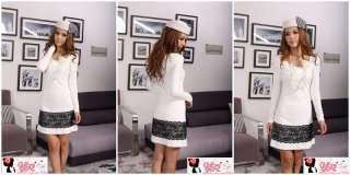 yrfashion Korean Women Fashion Pretty Lace Flounce White Round Neck