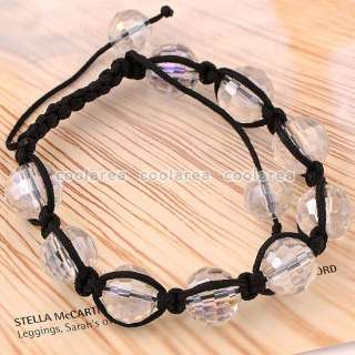 Clear Crystal Glass Disco Ball Beads Macrame Bracelet 10L 96/Facet