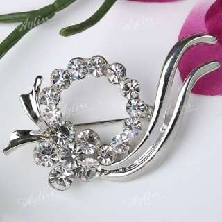 32X61mm Silver Plated Crystal Glass Pin Flower Brooch