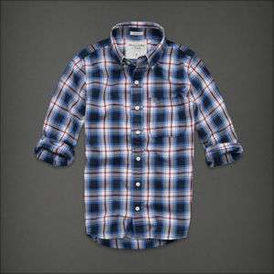 NWT Abercrombie & Fitch MENS Casual Blue Red PLAID SHIRT L, XL $78