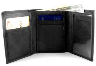 Men Black Genuine Leather Tri Fold Tri Fold Wallet Y790