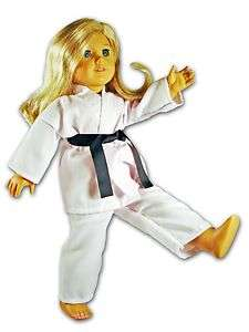 fits 18 American Girl ** Karate Set w/ 7 Belts Outfit Black **