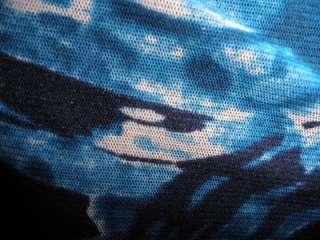 NEW KAREN KANE BLUE WHITE BLACK SHEER WRAP TOP XS,L
