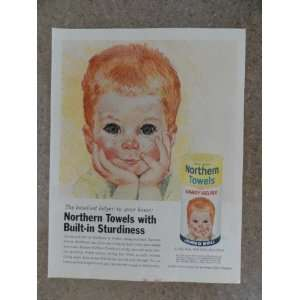 Northern Towels ,Vintage 60s full page print ad (little boy/american